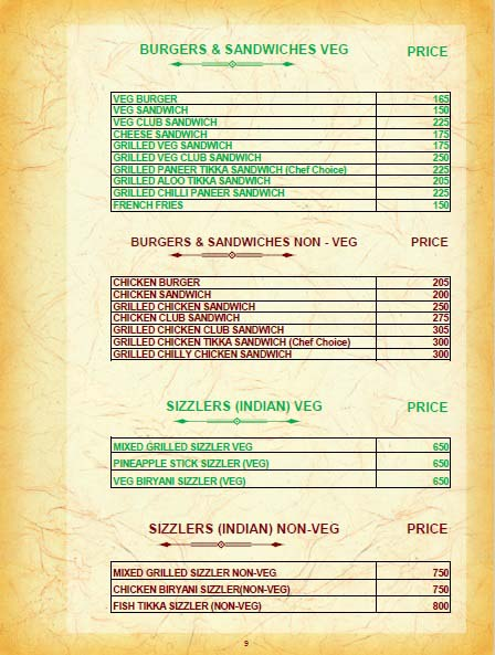 Hotel Golden Grand IRD Menu